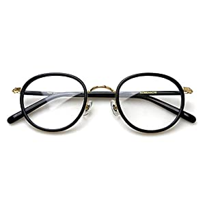 Komehachi - Womens Mens Retro Oval Optical Prescription-Ready Eyeglasses Frame with Clear Lenses (Black&Gold)