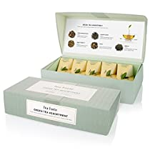 Tea Forté Petite Presentation Box Sampler with 10 Handcrafted Pyramid Tea Infusers - Green Tea Assortment