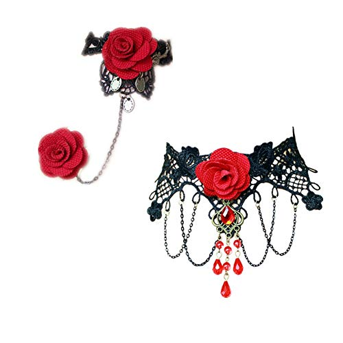 (LEFINIS Handmade Gothic Lolita Retro Lace Bracelet Ring Set Red Rose Flowers Wristband and Necklace Set for Women)