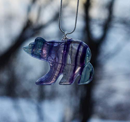 Rainbow Fluorite Stone Bear - Stone Bear Pendant