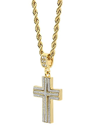 Mens 14k Gold Plated Stardust Two Cross Thick Pendant Hip-Hop 4mm 24