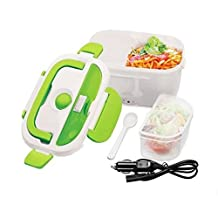 WHOSEE Portable Electric Heating Lunch Box Mini Rice Cooker Food Warmer 12V 45W Car Use Green