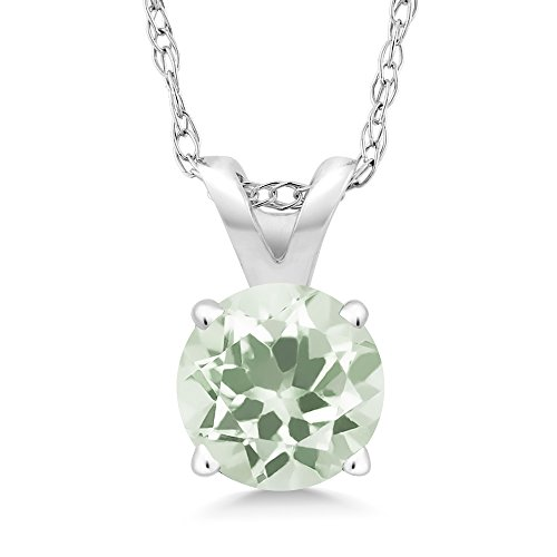 0.95 Ct Round Green Amethyst 14K White Gold Pendant With ()