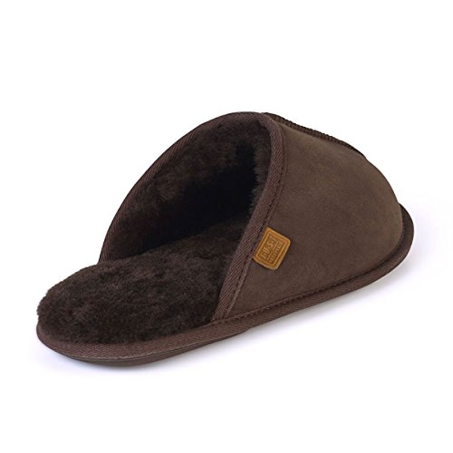 Just Sheepskin Mens Donmar Sheepskin Slippers Chocolate tAQ4HcVyXw