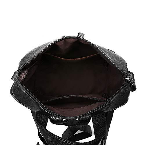 Multi funzione Puro Moda Pu Pelle Colore Zaino Tendenza Black In Nero Doppio Cerniera FnWfEZTT8t
