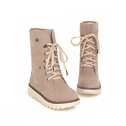 Allhqfashion Women's Round Closed Toe Low-top Low-Heels Solid Imitated Suede Boots Beige ySga48zj