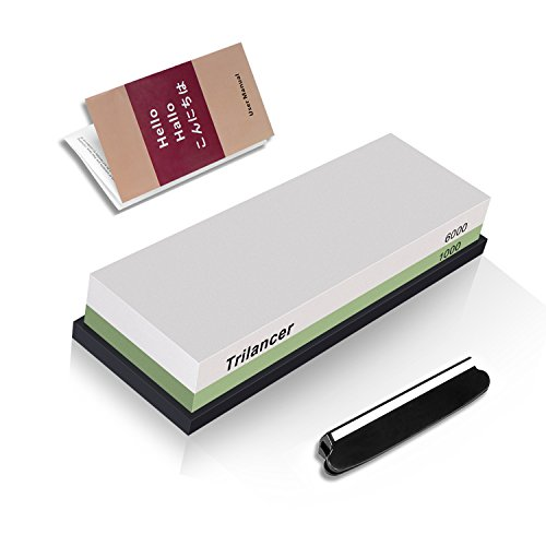 (Whetstone Knife Sharpening Stone, 2-Sided 1000/6000 Grit Knife Sharpener, Trilancer Japanese Style Waterstone Kit, Angle Guide and Rubber Base Included)