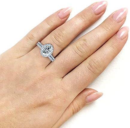 Kobelli Oval Moissanite Halo Bridal Rings Set 2 3/8 CTW 14k White Gold