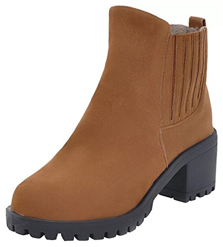 Faux Pull Boots Yellow Ankle Suede Classic Mid Chunky Women's Toe On Heels Round Chelsea IDIFU wnBIqgOYw