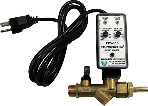 Van Air Systems 39-10507 Automatic Tank Drain for Air Compressors, 115V AC, Dual Inlet 1/2' and 1/4', Y-Strainer, Test Mode, Isolation Valve, 3/8' Hose Barb Fitting, 6' Power Cord