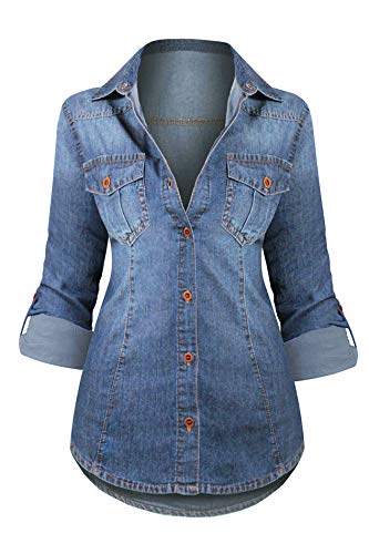 Shirt Blouse Denim - Women's Button Down Roll up Sleeve Classic Denim Shirt Tops