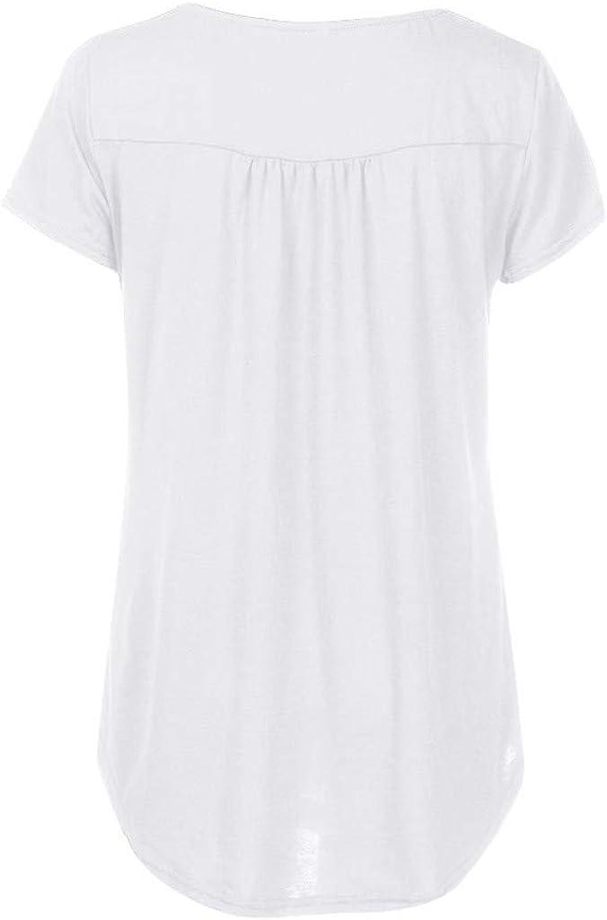 VEMOW Camisetas Mujer Botón sólidos Mujer Camisa Manga Corta con Cuello en O Tops Blusas Camisetas: Amazon.es: Ropa y accesorios