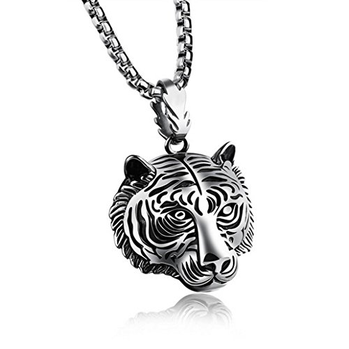 Botrong Stainless Steel 60CM Men Pendant Necklace of Animal Tiger Exterior (Silver) (Fan Pendant Necklace)