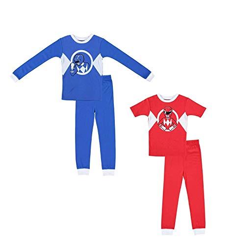 (Saban Boys Power Rangers Pajamas- 2-Pack of 2-Piece Short Sleeve and Long Sleeve Pajama Set (Red/Blue,)