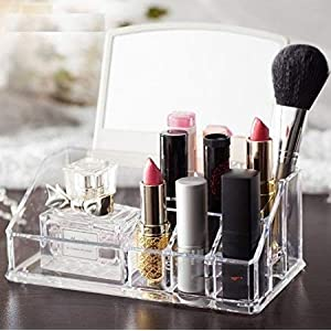 MeRaYo Acrylic Cosmetic Storage Organizer Makeup Holder Stand for Women with Mirror (Pack of 1)