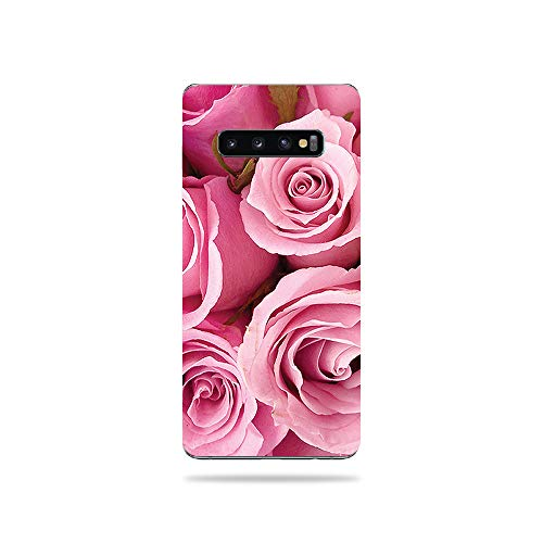 For Cell Skins Phones - MightySkins Skin Compatible with Samsung Galaxy S10 Plus - Pink Roses | Protective, Durable, and Unique Vinyl Decal wrap Cover | Easy to Apply, Remove, and Change Styles | Made in The USA