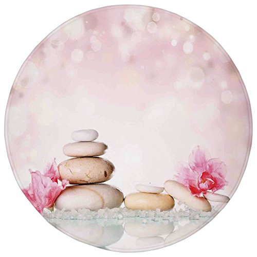 Round Rug Mat Carpet,Spa,Bohemian Zen Stones and Soft Petals Therapy Tradition Chakra Yoga Asian Picture,Light Pink Peach,Flannel Microfiber Non-slip Soft Absorbent,for Kitchen Floor Bathroom by iPrint