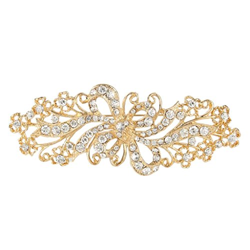 EVER FAITH Wedding Filigree Bowknot Brooch Clear Austrian Crystal Gold-Tone