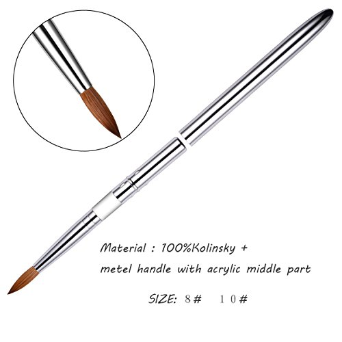 Esung Brand Profession PURE Kolinsky Nail Brush Powder Manicure Pedicure with Metal Handle and Cap Size 8 and Size 10 (#08) from Esung