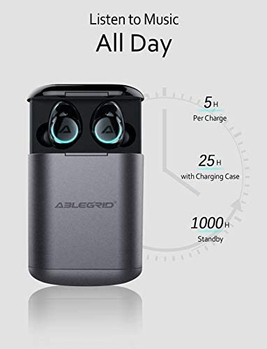 ABLEGRID Pyxis True Wireless Earbuds, Bluetooth 5.0 Touch Control in-Ear Headphones TWS Earphones with CVC6.0 Mic, 25H Playtime with Charging Case, IPX5 Waterproof Sport Earbuds for Running, Fitness 41BlAyQRqYL