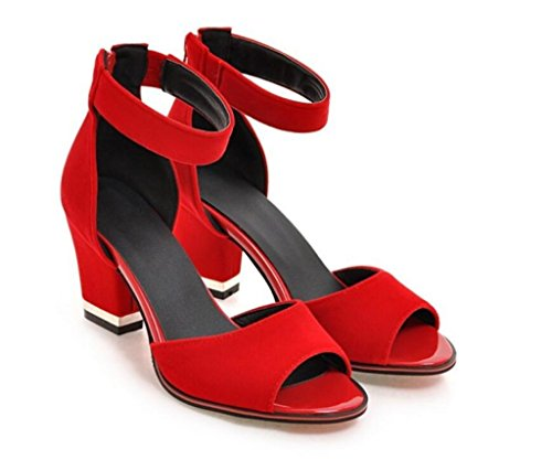 WEIQI-Women's Sandals/Fleece+PU/Front Zipper Closure, Wedding/Meeting/Shopping, 7cm, 32-41 Red