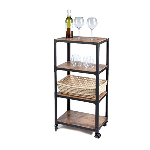 - Mind Reader 4 Tier All Purpose Utility Cart, Wood/Metal, Black/Brown