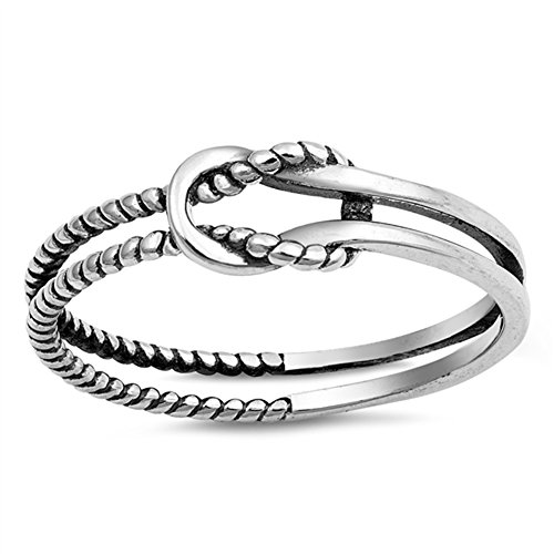 ve Knot Rope Loop Ring .925 Sterling Silver Band Size 9 (Sterling Silver Fashion Ring)