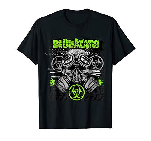 Green BioHazard Face Mask Funny Halloween T-Shirt -