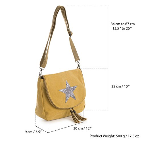 Cross Tassel Canvas Zip Bag Body Big Handbag Bucket Shop Flapover Trendy Glitter Round Shoulder Fabric Medium Style Blue Star Size Sy4Z1