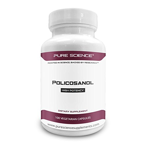 Pure Science Policosanol 20mg – Support Cardiovascular Health and Lower Cholesterol Level -100 Vegetarian Capsules