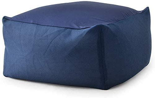 フロアチェア 特大 ビーズクッション MOLLYNANA ビーズソファ 背もたれ 50*50*35cm 可愛い 座椅子 座布団 人をダメにするソファ 極小ビーズ カバー (ホワイト),ダークブルー