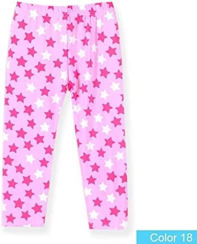 DEYOU 4 Pack Seven-point Trousers Kids Girls Pants Floral Pattern Stretch Seven-point leggings(4-13Years)