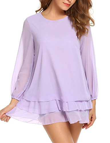 ACEVOG Women Casual Long Sleeve Double Layer Ruffles Chiffon Loose Blouse