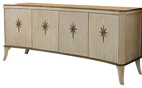 Oak Pull Light Brass 3 - Global Views Solid Oak Wood Star Media Cabinet Star | Curved Shape Mid Century Modern Bronze