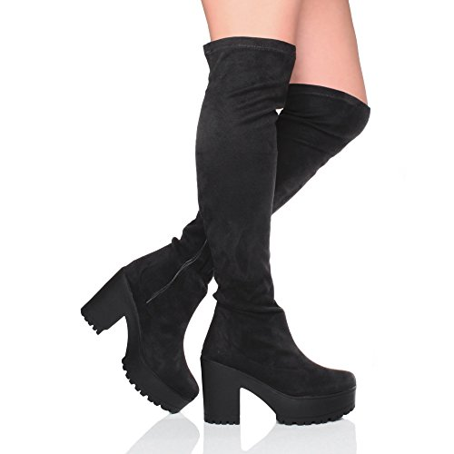 Womens Boots Chunky Thigh Size Platform The Over Ladies Black high Heel Ajvani Knee Stretch URqPd0Uw