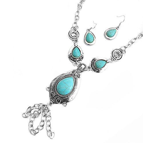 (Viola Antiqued Silver & Turquoise Teardrop and Fringe Necklace & Drop Earring Set)