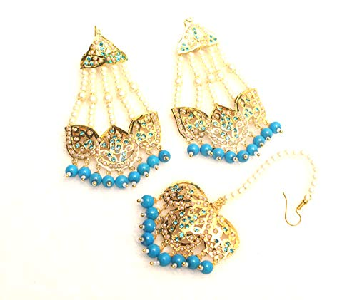 Gold Jadau Firoja Traditional Bollywood Punjabi Muslim Jhumar Earrings Jewelry by Glamorous Collection