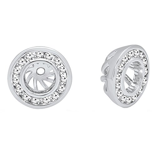 14k White Gold Earring Jacket - 0.25 Carat (ctw) 14K White Gold Round Cut Diamond Removable Jackets For Stud Earrings 1/4 CT