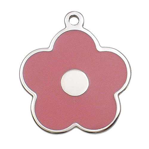 LuckyPet Pet ID Tag - Stainless Steel Flower Jewelry Tag - Dog & Cat Tags - Custom Engraved on Back - Size: Small, Color: Pink