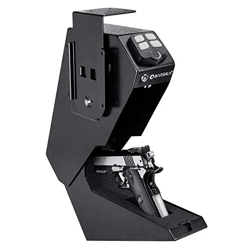 (BARSKA Steel Biometric Pistol Box Quick Access Handgun Safe)