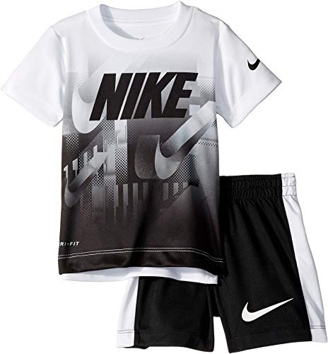 Nike Kids Baby Boy's Short Sleeve Top and Shorts Set (Toddler) White/Black 4T