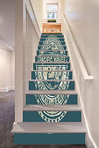 anselc05ls Modern 3D Stair Riser Stickers Removable Wall Murals Stickers,Pacific Waves Surf Camp and School Hawaii Logo Motif with Artsy Effects Design,for Home Decor 39.3