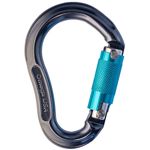 Omega Pacific Carabiner Jake, 3 Stage Quik-Lok, Pewter/Turquoise, USA Made, ISO Cold Forged Aircraft Aluminum Alloy for Climbing, Safety, Rescue, Industrial, and Arborist ()