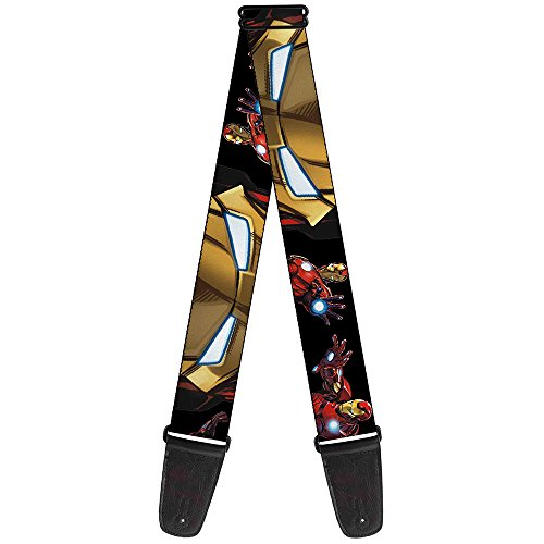 Buckle-Down 2 Inches Wide Guitar Strap-Marvel Avengers Iron Man Poses/Face Close-UP Black (GS-WIM008)