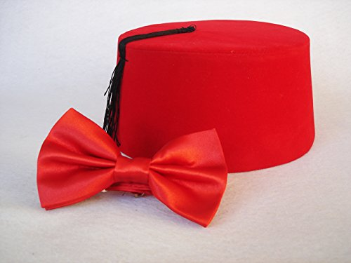 11th Doctor Costume Fez (Red Fez Hat - Doctor Who Fez And Bow Tie - Eleventh Doctor Matt Smith Fez - Doctor Who Cosplay - LARGE)