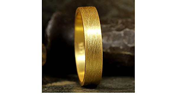 FREE Sizing /& Engraving 3mm Wire Brushed 24K Gold over 925 Sterling Silver Flat Pipe Cut Mens Unisex Thick Wedding Band Ring Women