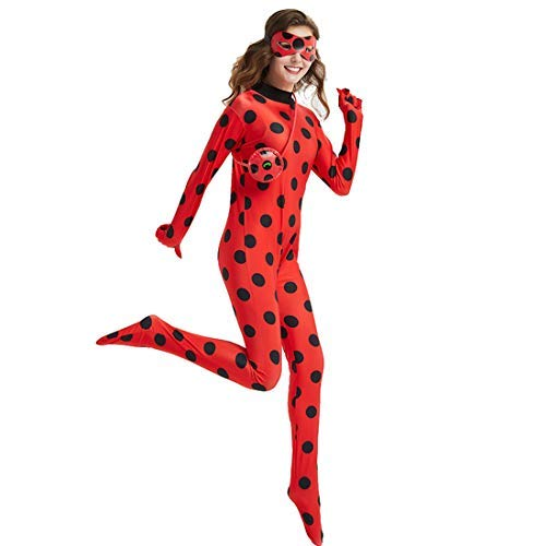 Asian Halloween Costumes Adults (Women Girl Ladybug Costume - Adult Teen Red Ladybird Little Beetle Suit Jumpsuit Halloween Party Cosplay)