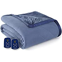 Thermee Micro Flannel Reversing to Ultra Velvet Electric Blanket, Queen, Cadet Blue