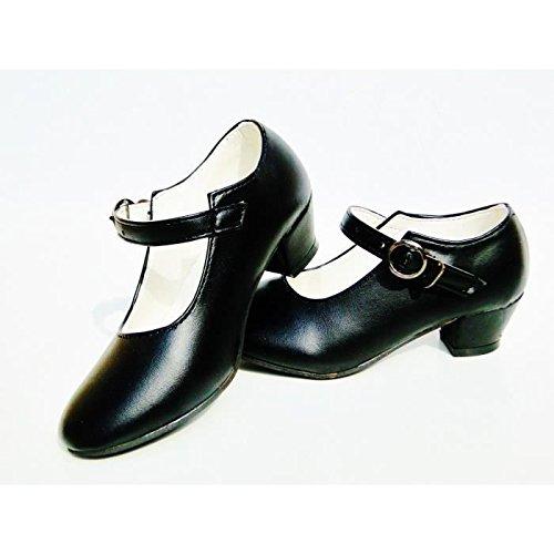 Scarpe scarpini neri da danza Flamenco per ragazza bambino bambina