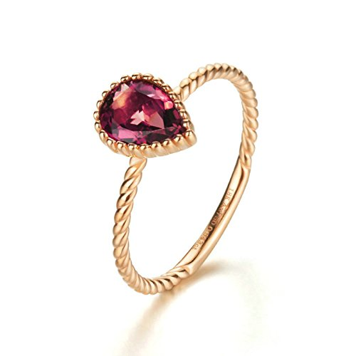 18K Rose Gold(Au750) 0.543CT Red Gemstone Wedding Rings Jewelry For Women by AnaZoz